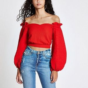 River Island Tops - New River Island statement sleeve blouse top